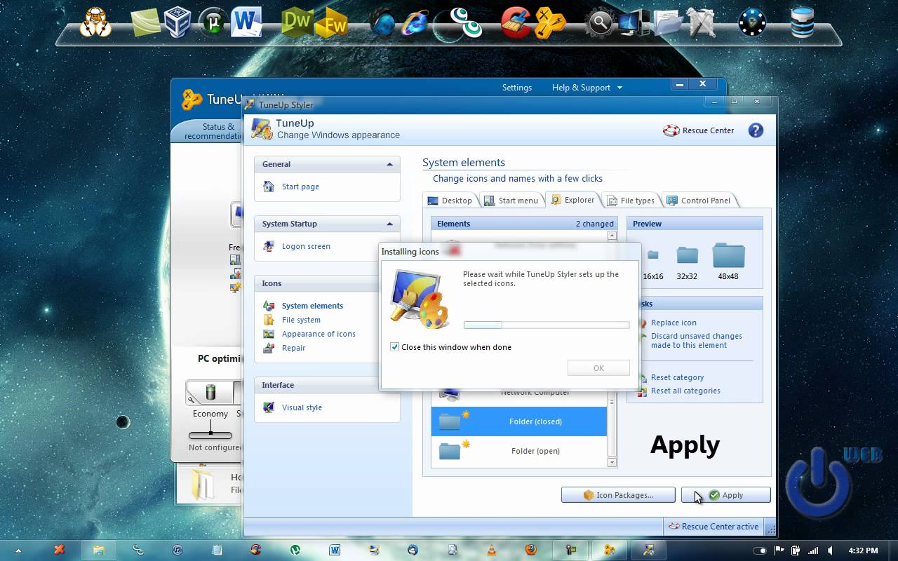 Change System Icons Windows 7