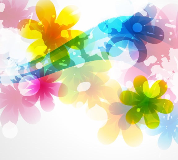 15 Colorful Abstract Flowers Vector Images