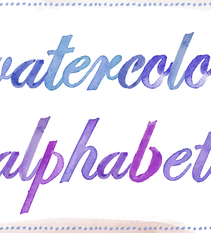 13 Watercolor Alphabet Font PNG Images