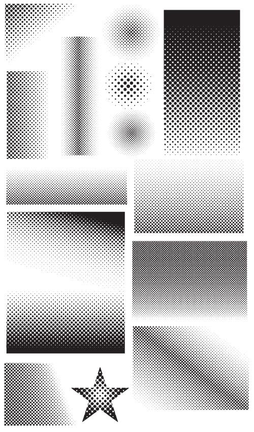 7 vector grunge halftones images