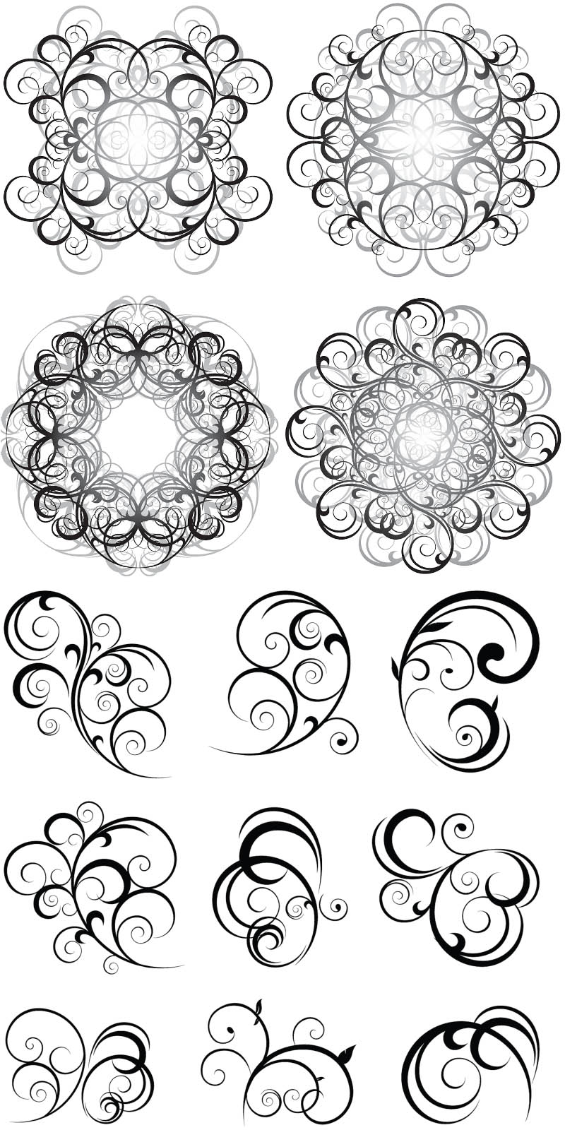 Free Vector Swirl Ornaments