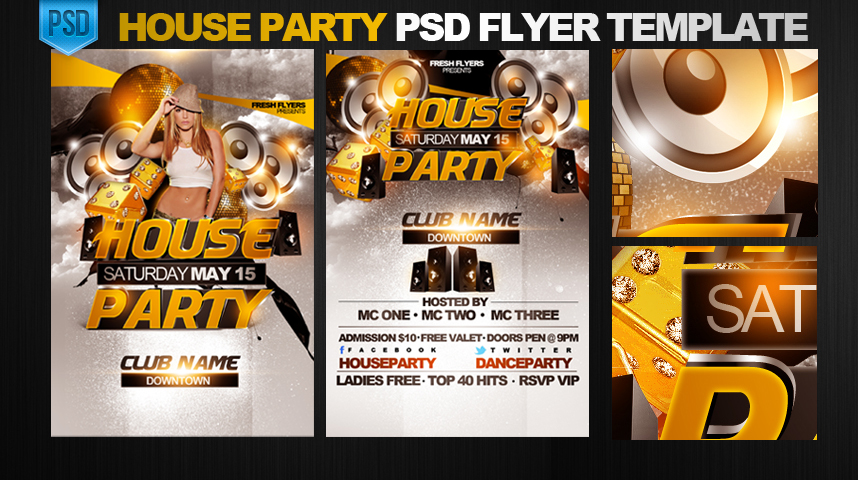 11 House Party Flyer PSD Images