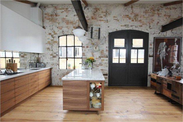 Industrial Brick Kitchen Design