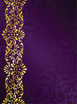 Purple and Gold Filigree Border