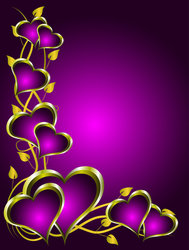 Purple and Gold Hearts