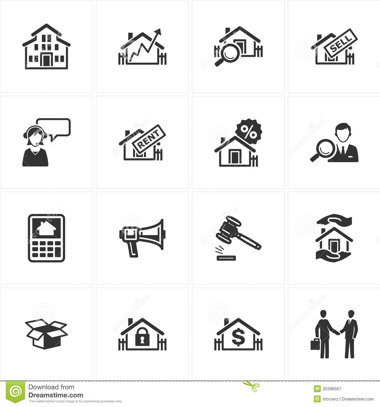 5 Real Estate Web Icon Buttons Images