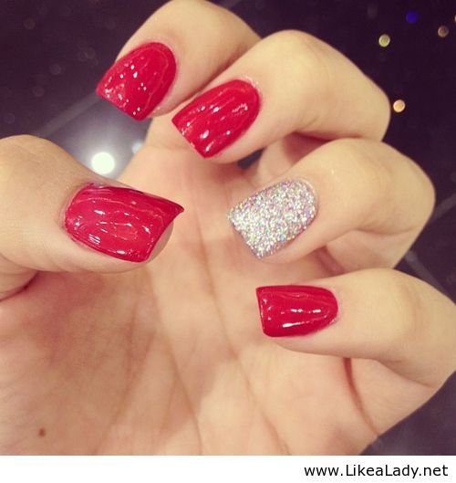 Red Sparkly Nails