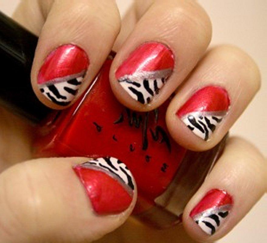 Red Zebra Print Nail Design