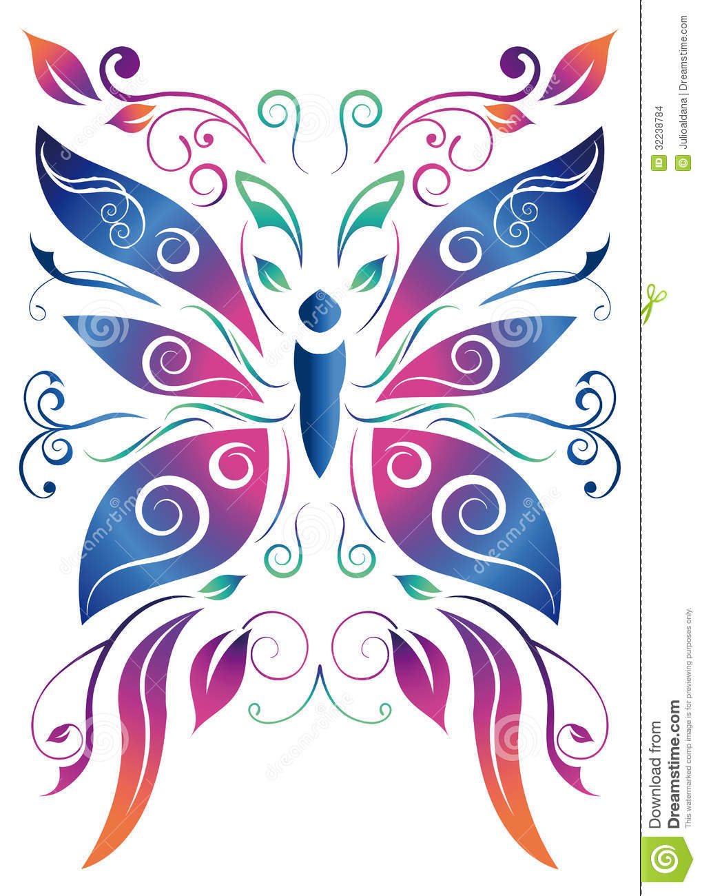 Abstract Butterfly Vector Floral Design