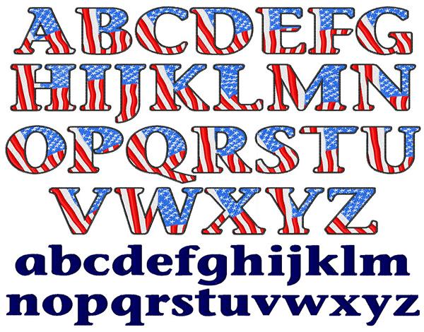 12 USA Flag Font Images