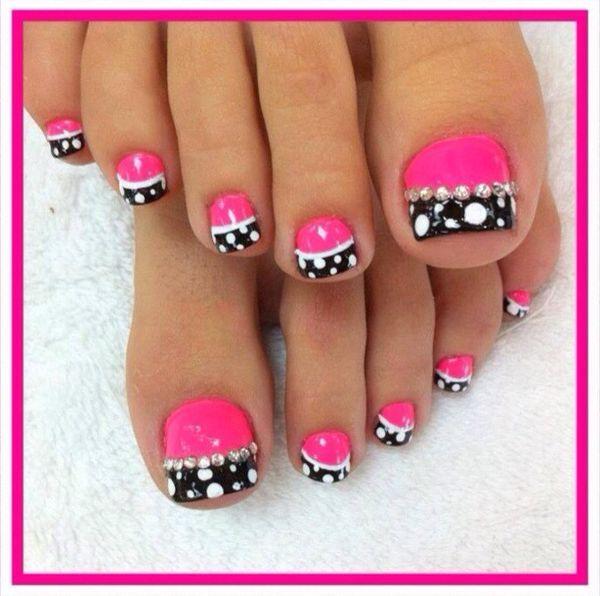 Black and Hot Pink Toenails