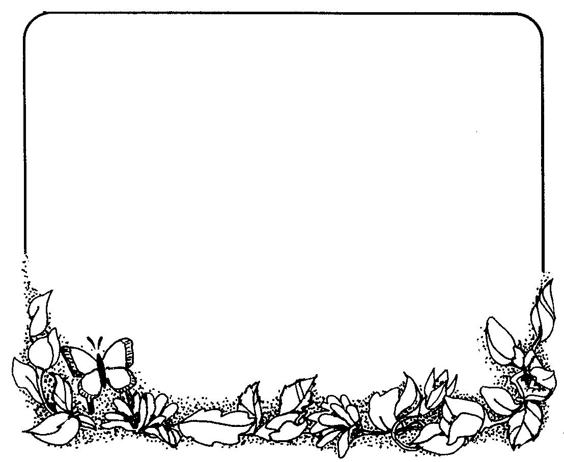 Black and White Flower Border Clip Art