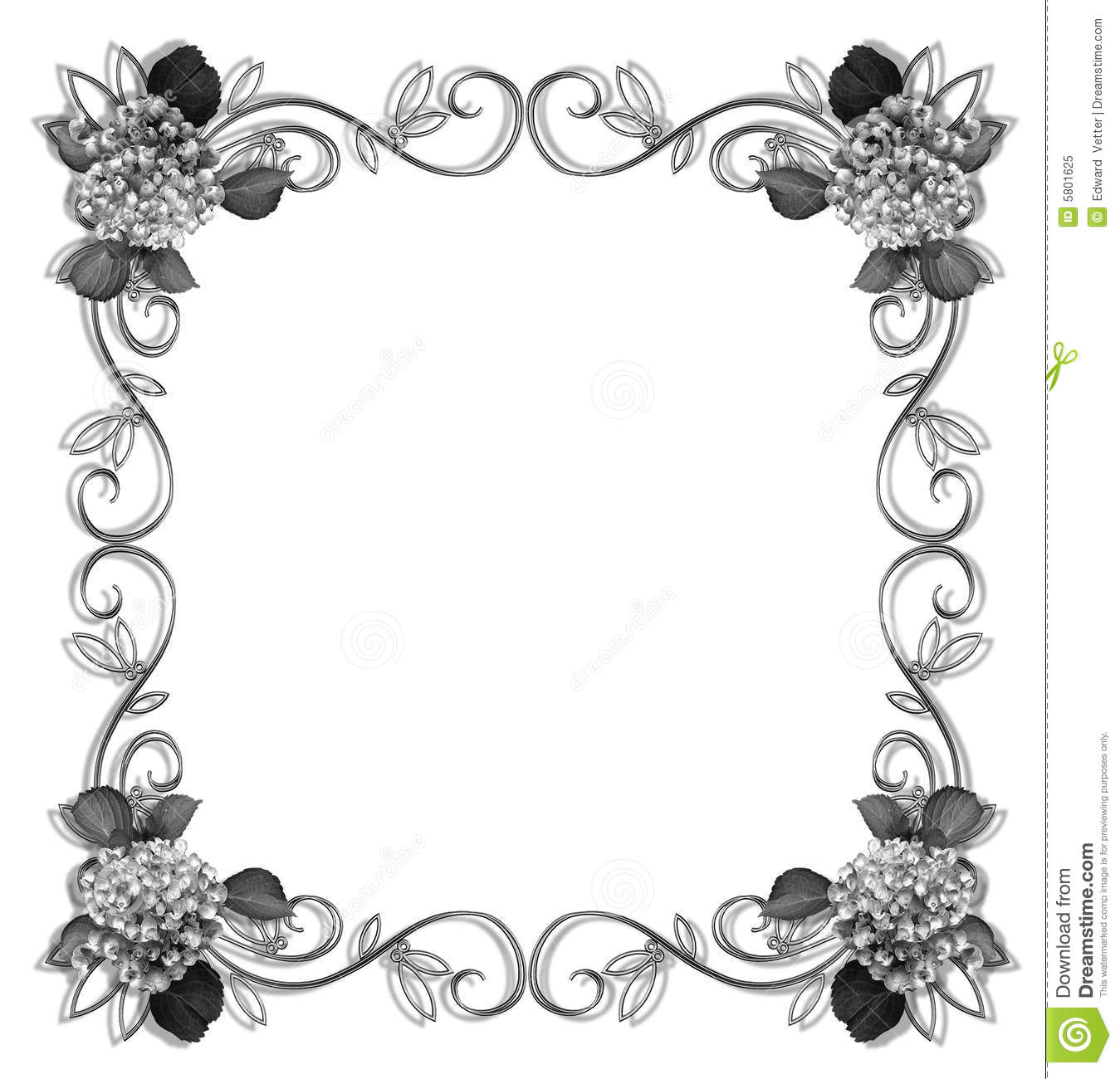 18 Black And White Flower Border Designs Images Black