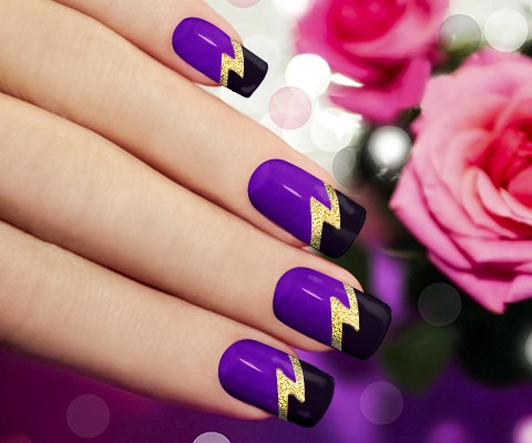 14 Purple And Gold Nail Designs Images