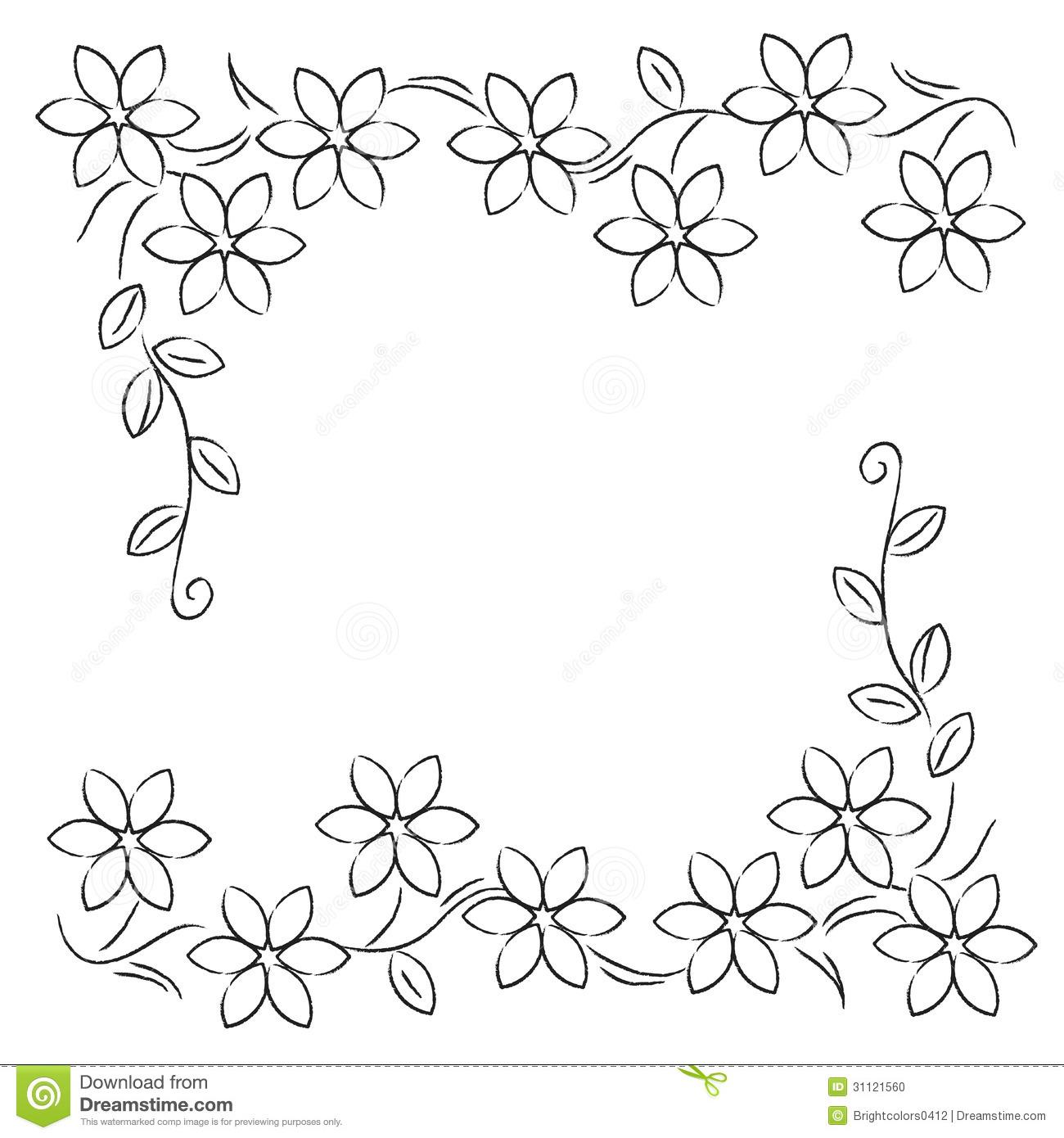 Black White Flower Line Border