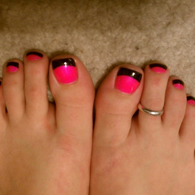 Black with Pink Tips Nails