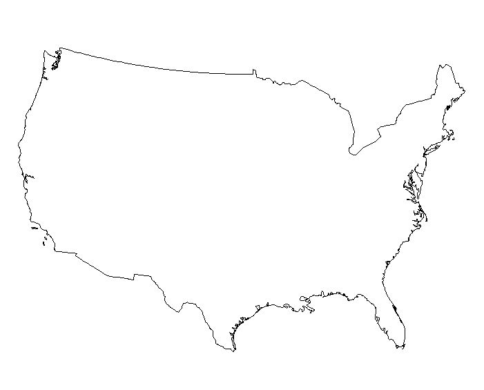 Us Map Outline States Blank - Us canada outline map