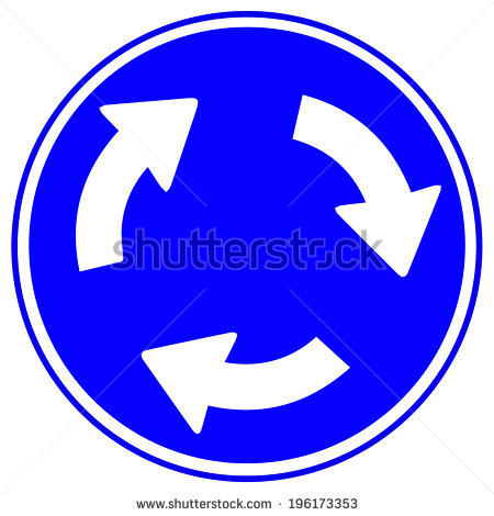 Blue Background White Arrow Traffic Signs