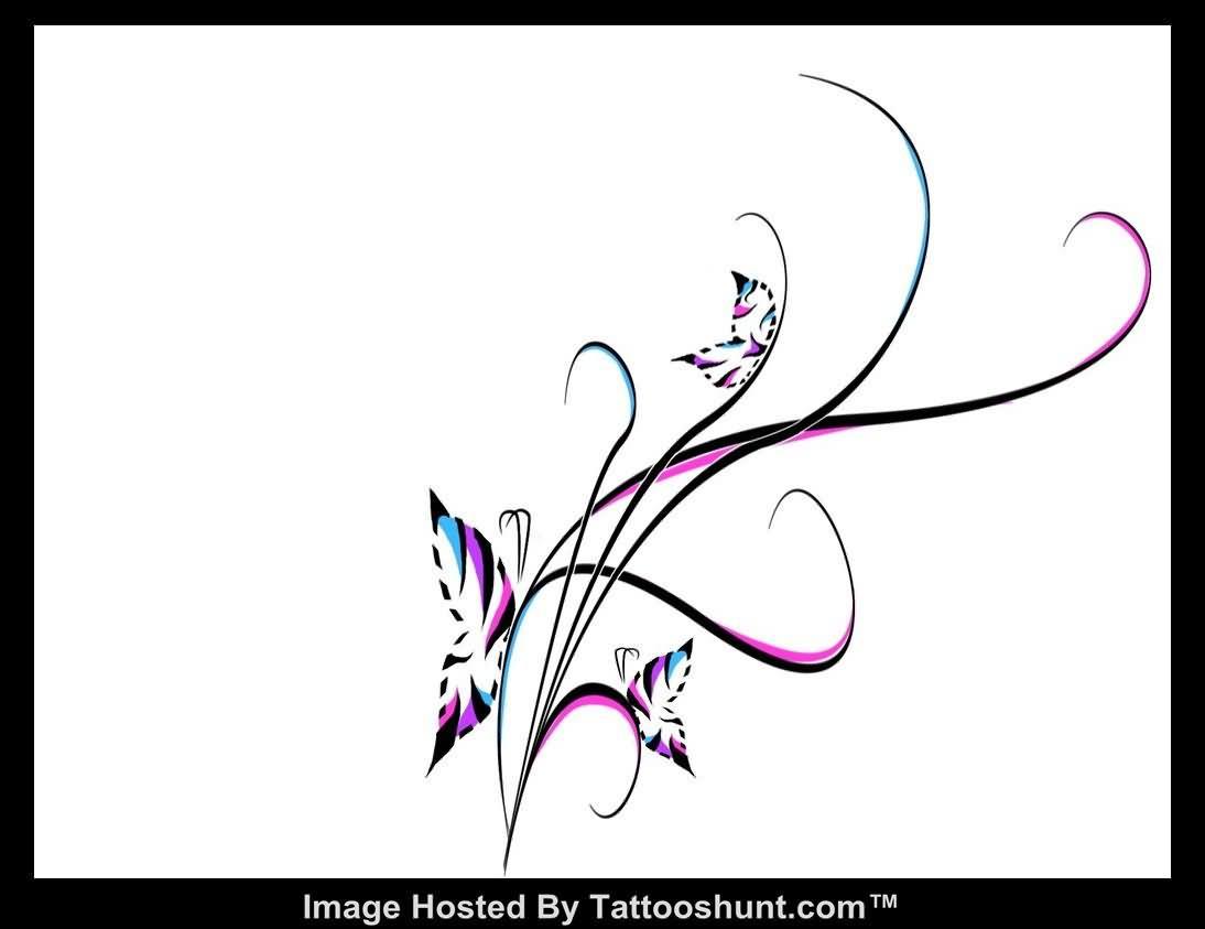 Butterfly Swirl Tattoo Designs
