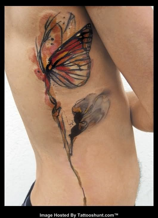 Butterfly Tattoos On Side
