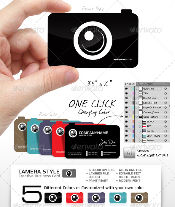 11 Camera Business Card PSD Images