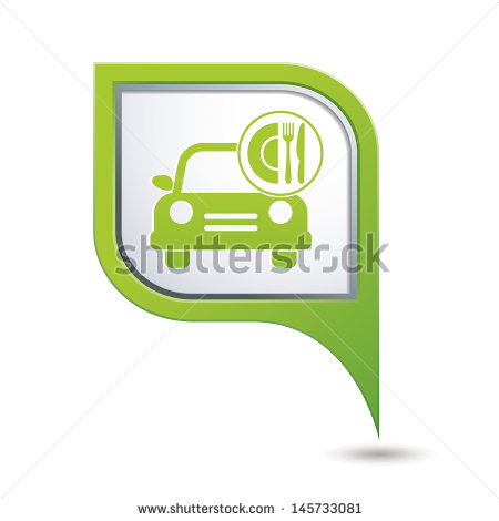 Car with Map Pointer Icon