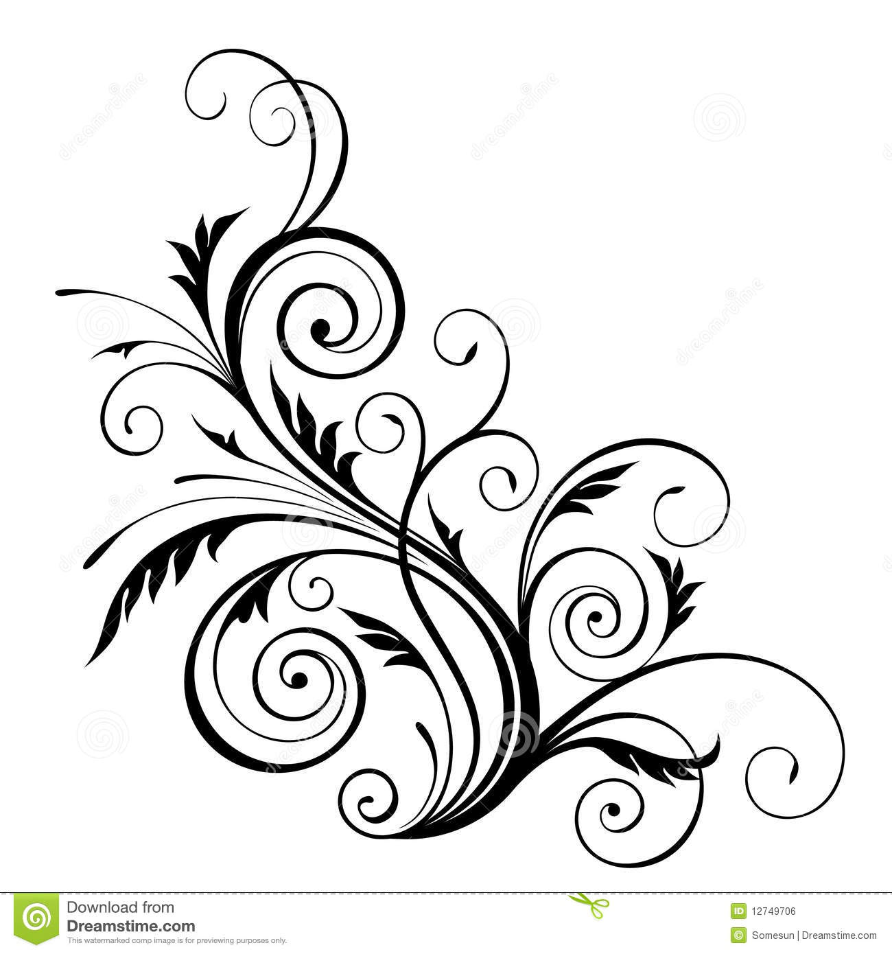 Line Art Vector Design : Single floral vector design elements images