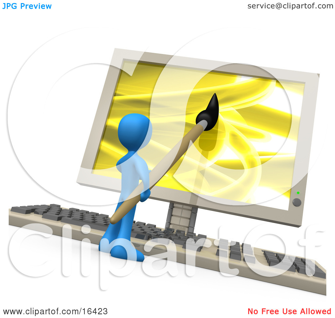 Graphic Person Using Computer