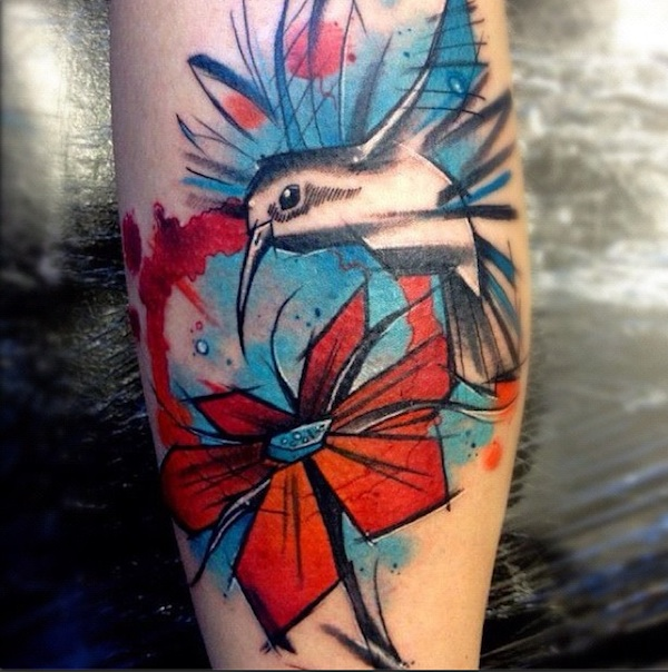 Graphic Watercolor Flower Tattoo