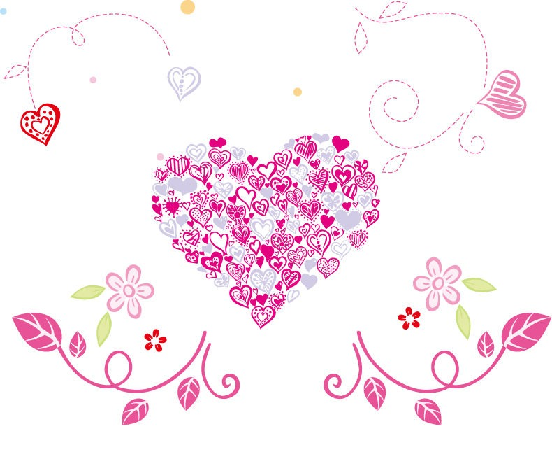 14 Floral Hearts Vector Images