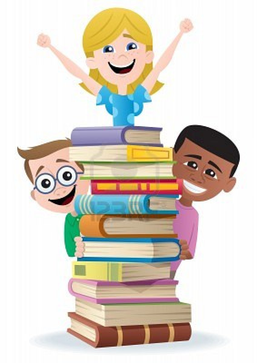 Kids with Books Clip Art