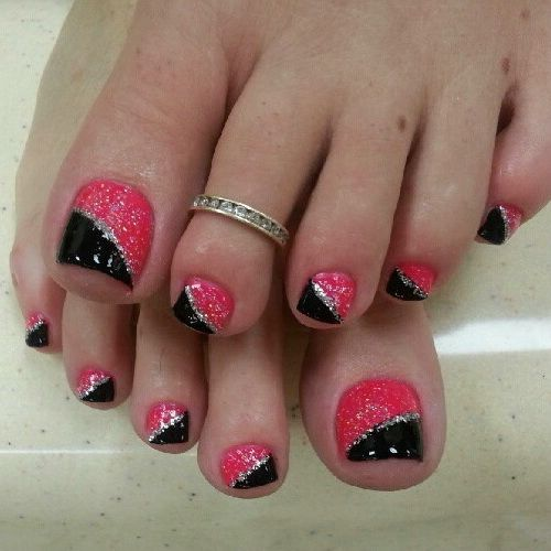 Pink and Black Nail Art Design