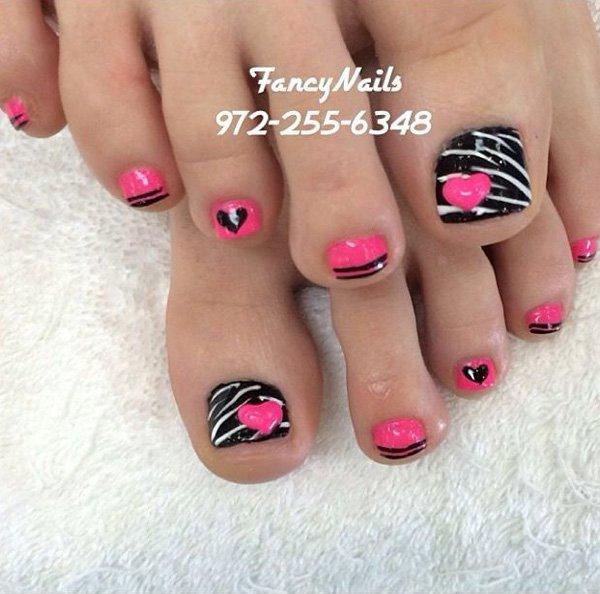 Pink and Black Toe Nail Design