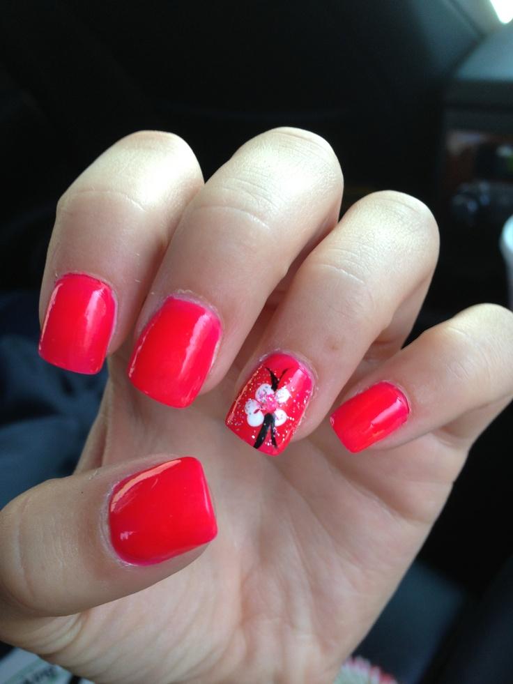 Pink Hawaiian Flower Nails
