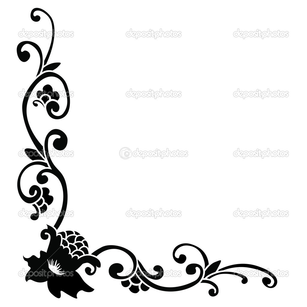 The gallery for --> Simple Floral Border Black And White