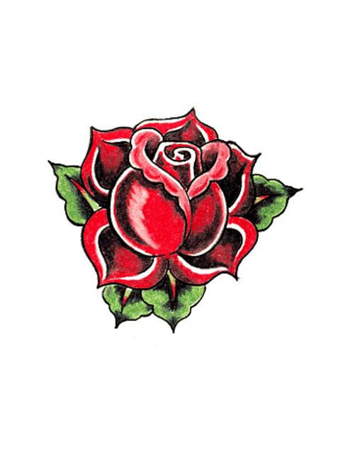 Simple Red Rose Tattoo Designs