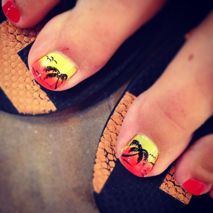 Tropical Toe Nail Designs