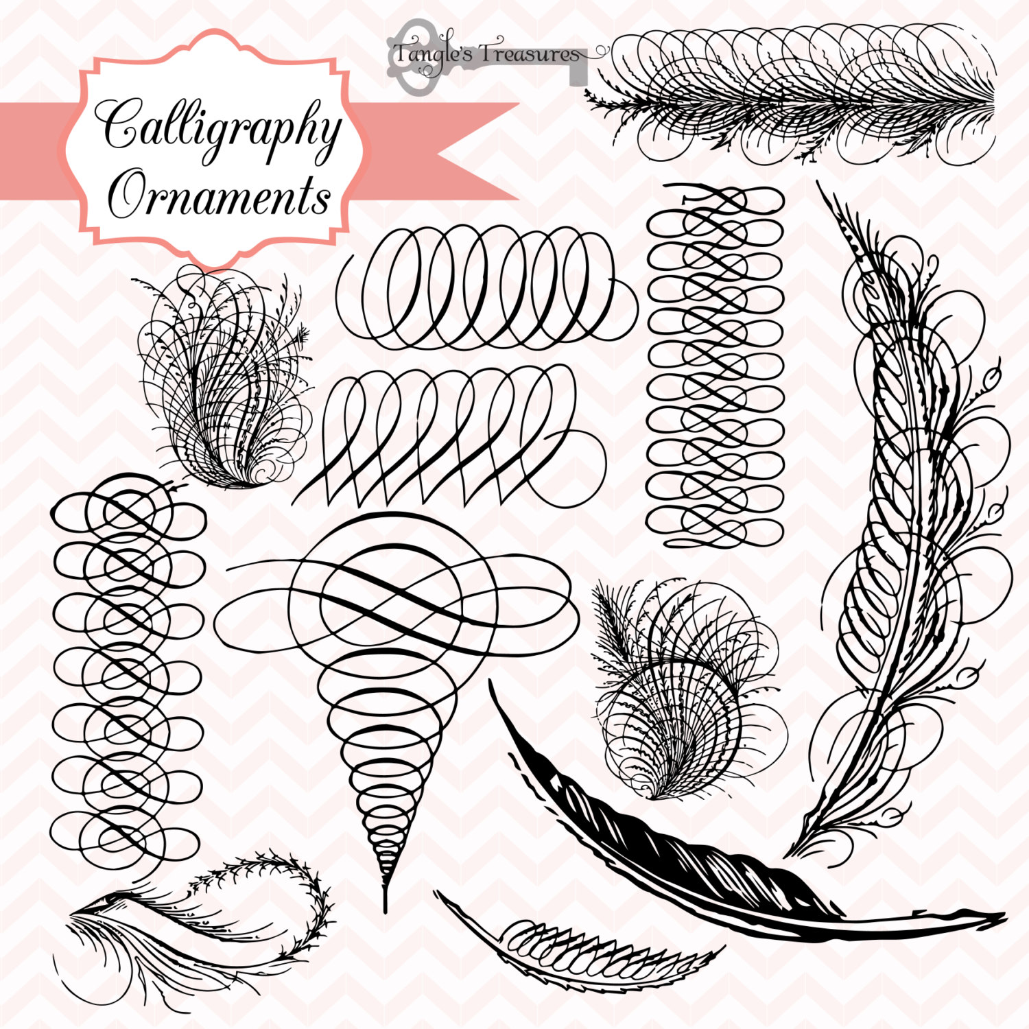 11 Vintage Calligraphic Ornaments Images