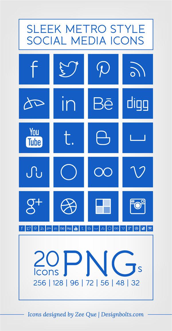 6 Sleek Social Media Icons Images