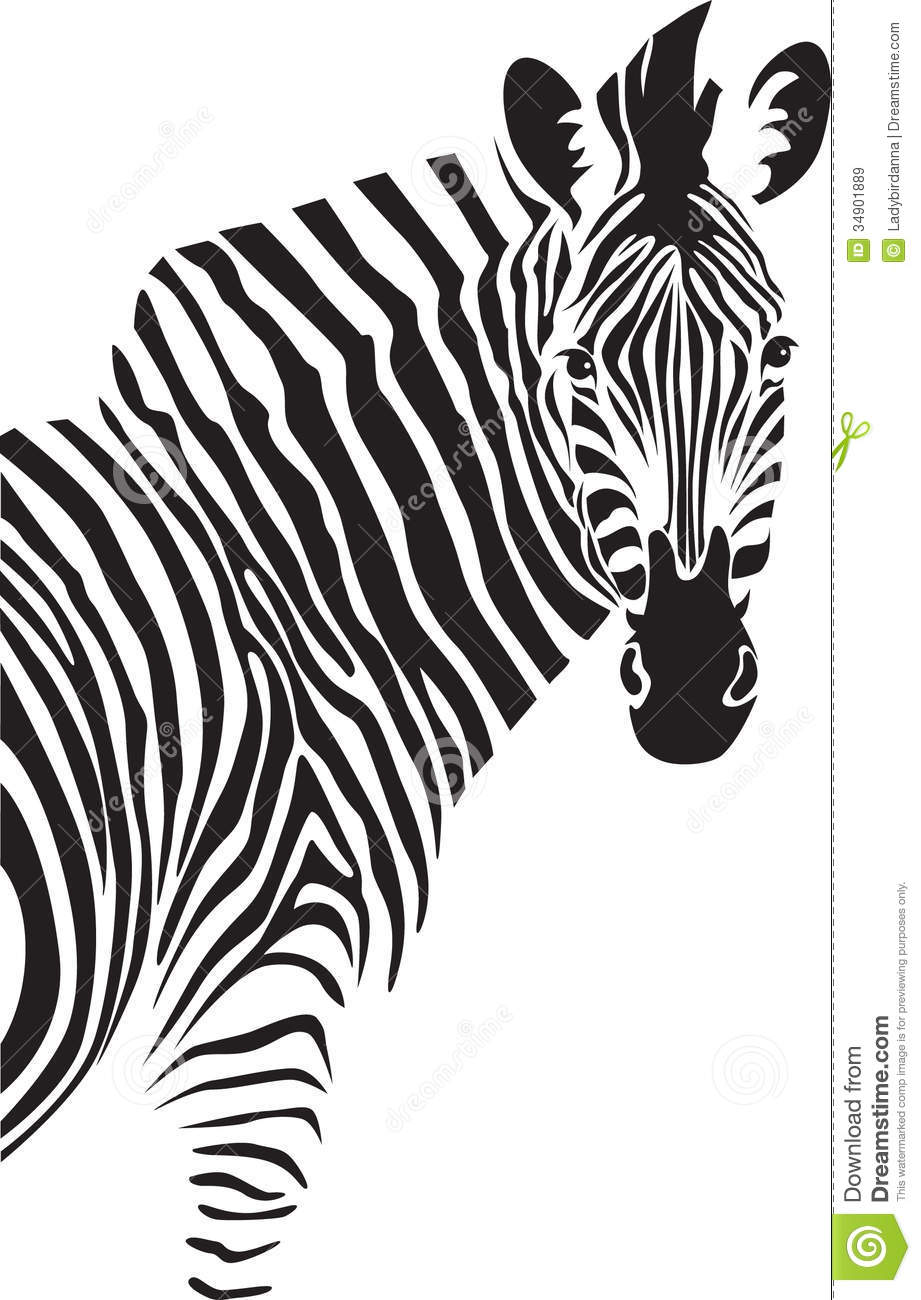 Zebra Face Clip Art Black and White