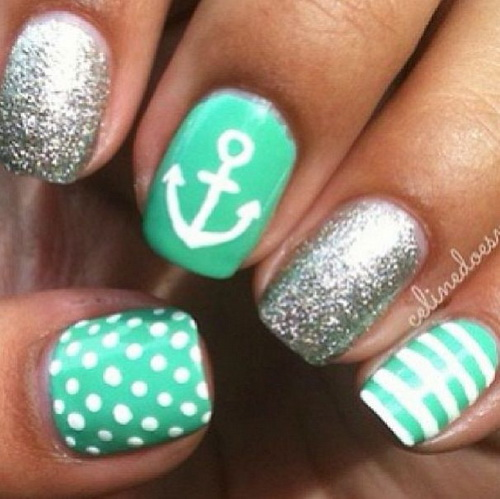 Anchor Nail Art Glitter Design