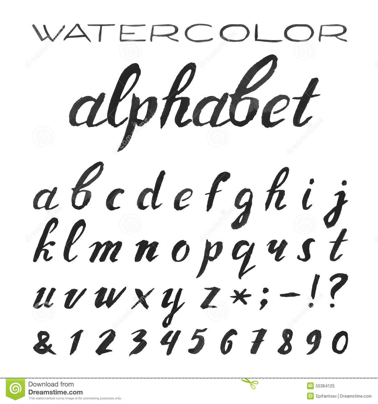 Black and White Cursive Letters Alphabet