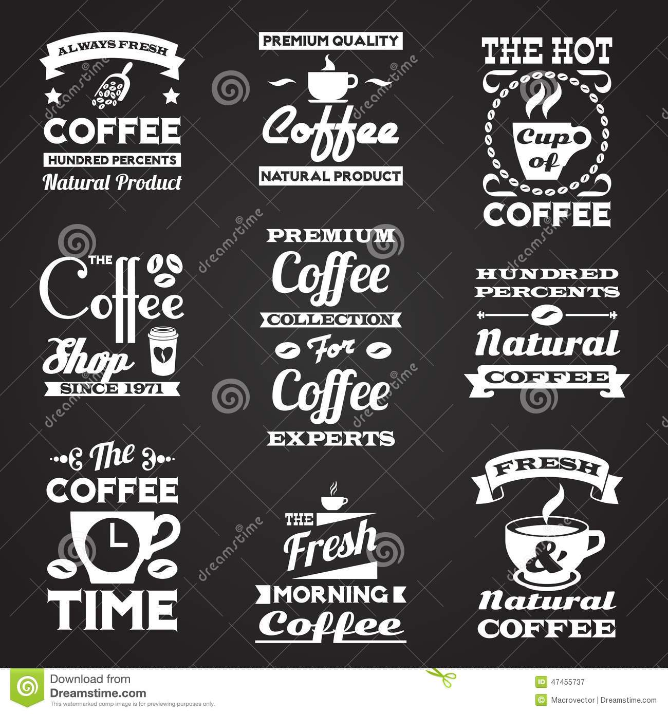 Black and White Vintage Coffee Labels