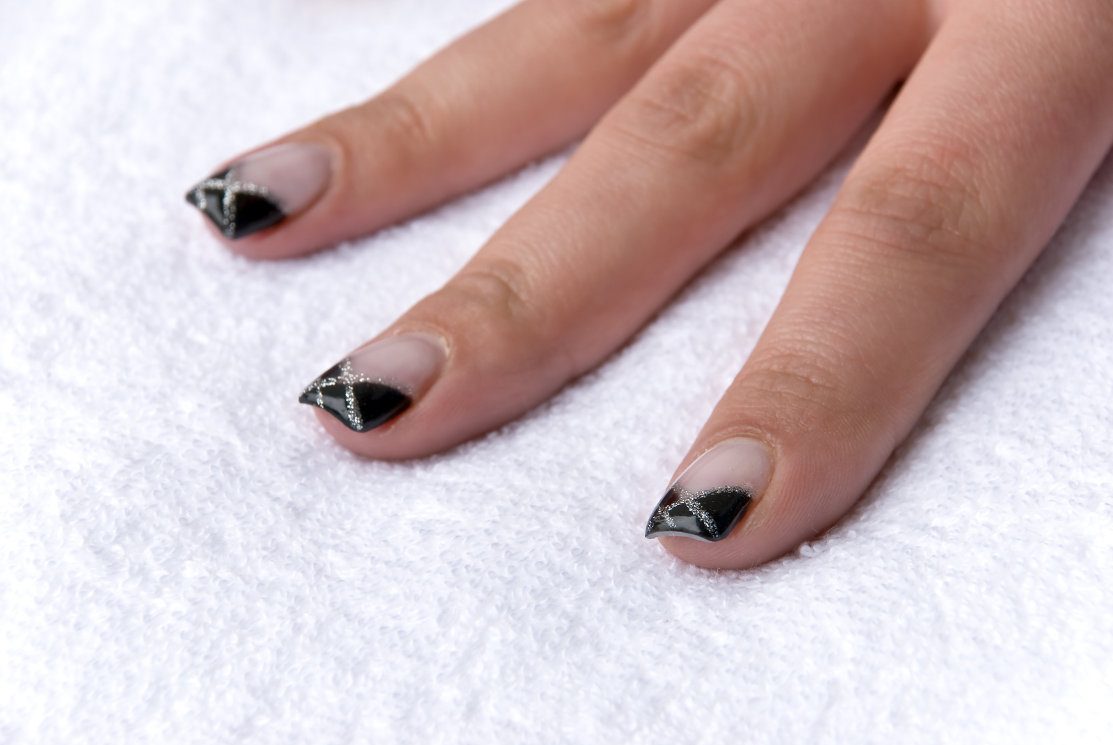 Black French Manicure Nail Art Design