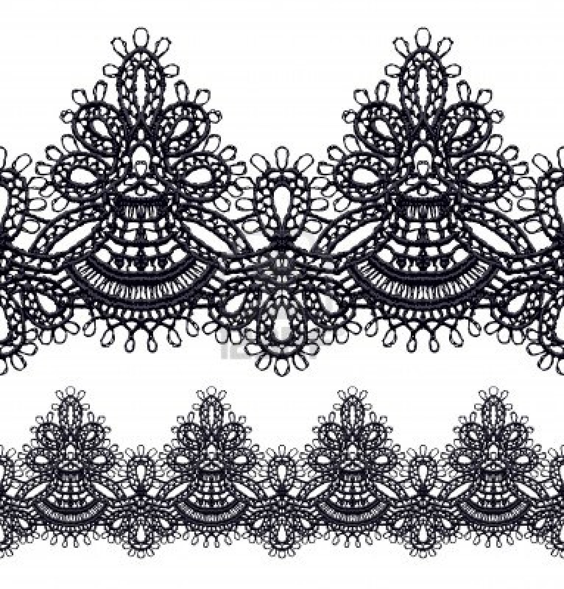 10 Black Lace Pattern Vector Images