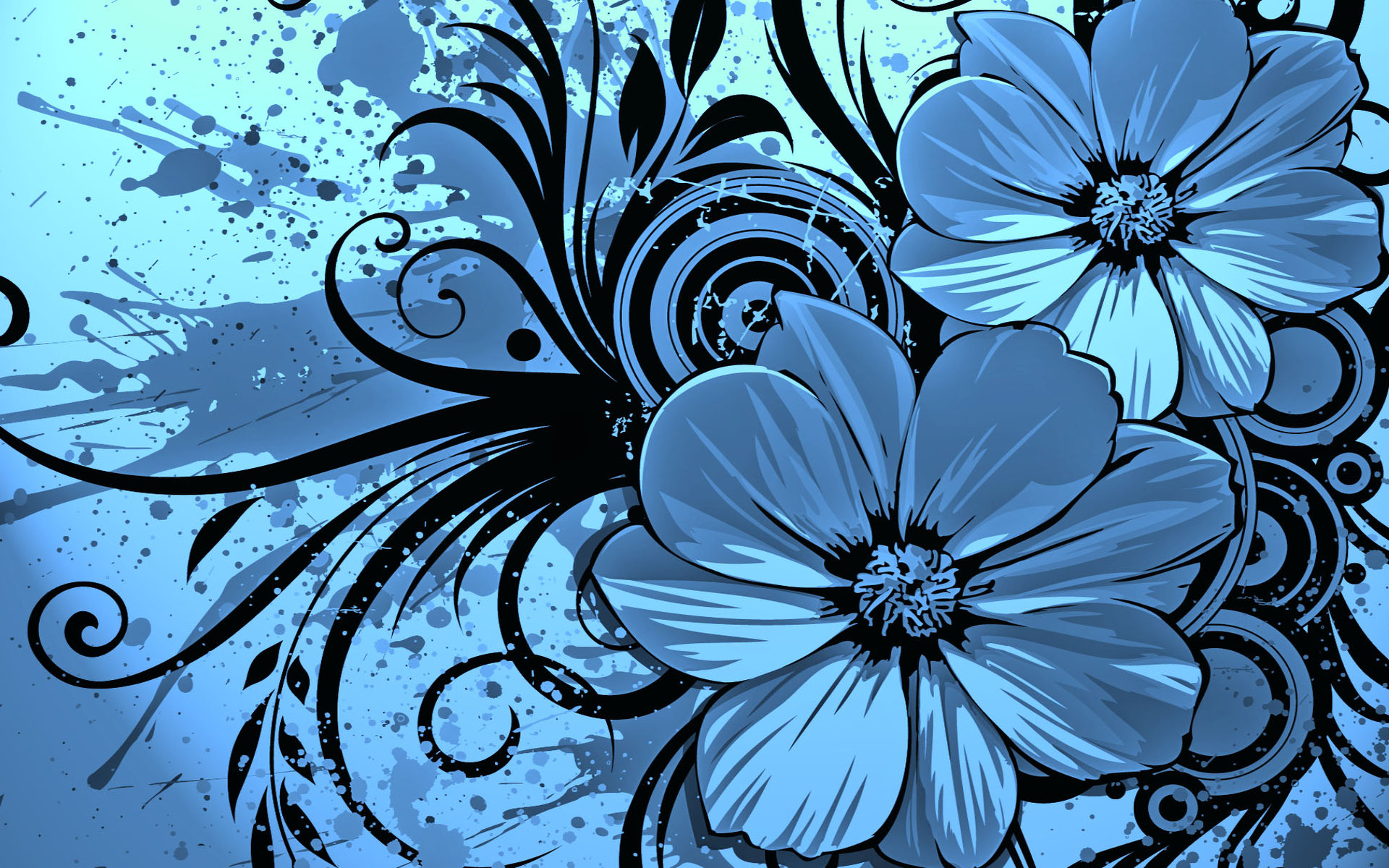 Blue and Black Flower Vector