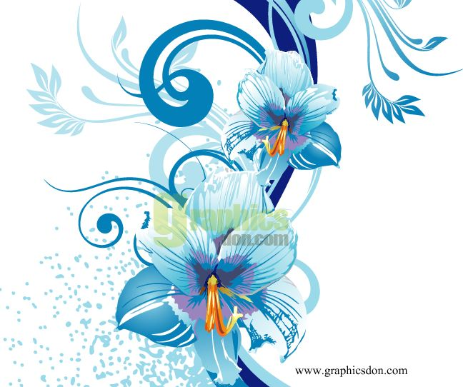 Blue Flower Design Vector