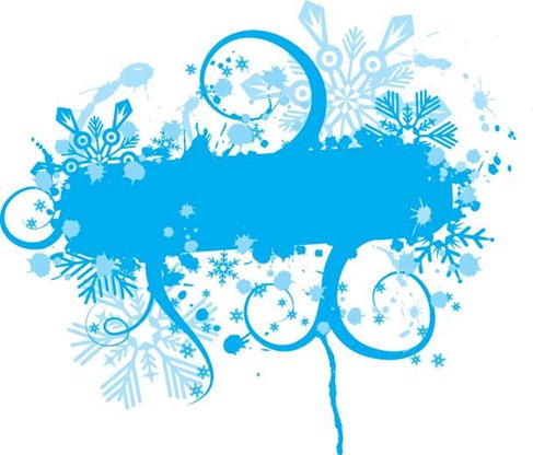 Blue Vector Floral Graphic