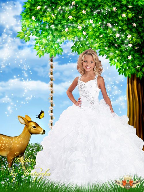 Cartoon Girl in Wedding Dress in Nature