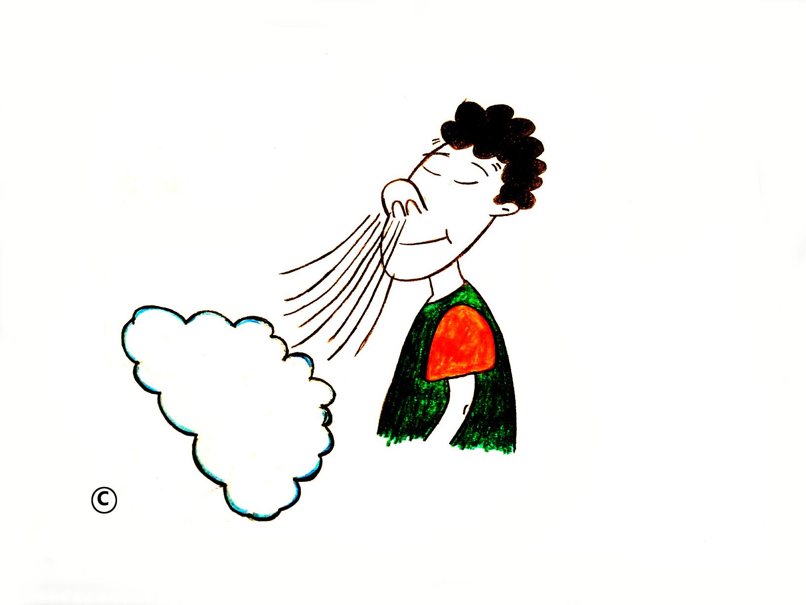 Cartoon Person Breathing Oxygen